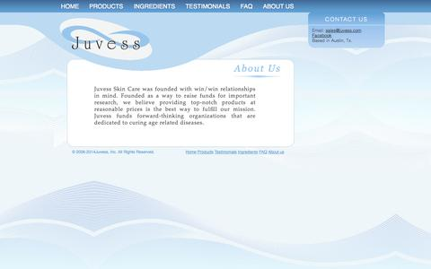 Screenshot of About Page juvess.com - About Us and Contact : Juvess - captured Oct. 6, 2014