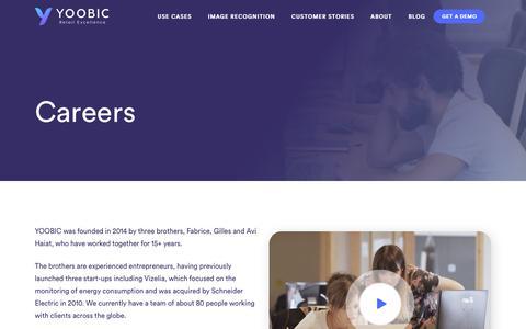 Screenshot of Jobs Page yoobic.com - Careers - YOOBIC - captured Feb. 7, 2018