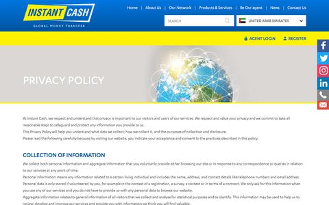 Screenshot of Privacy Page instantcashworldwide.com - Privacy Policy – Instant Cash - captured July 3, 2018