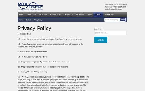 Screenshot of Privacy Page modelighting.com - Privacy Policy - captured June 3, 2018