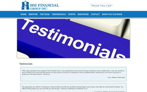 Screenshot of Testimonials Page hsifinancial.com captured Oct. 1, 2014