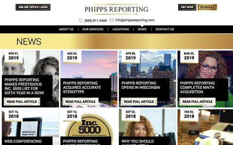 Screenshot of Press Page phippsreporting.com - News - Phipps Reporting - captured Dec. 3, 2019