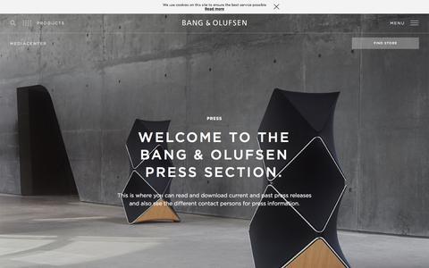 Screenshot of Press Page bang-olufsen.com - press | Bang & Olufsen - captured Nov. 17, 2017