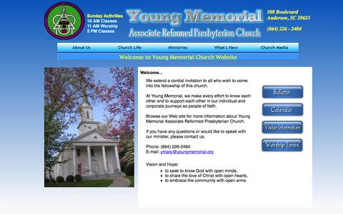 Screenshot of Home Page youngmemorial.org - Young Memorial ARP Church: Welcome - captured June 17, 2016