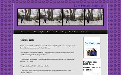 Screenshot of Testimonials Page dhpetcare.com - Testimonials | A Calgary Pet Sitting company with credentials and medical training. - captured Oct. 3, 2014