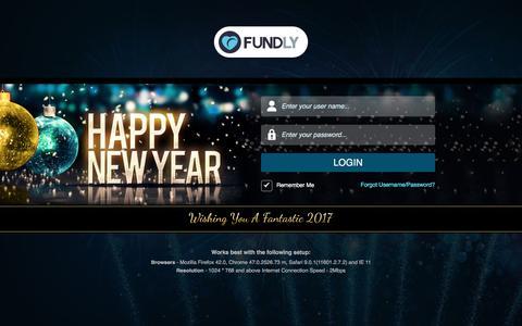Screenshot of Login Page fundly.com - Fundly - captured Jan. 21, 2017