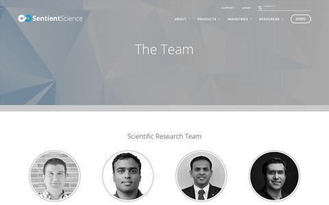 Screenshot of Team Page sentientscience.com - Team - Sentient Science - captured Oct. 27, 2017