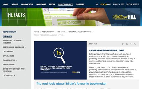 Screenshot of williamhillplc.com - William Hill PLC: About problem gambling levels...                 - Lets talk about gambling                 - The Facts                 - Responsibility - captured March 19, 2016