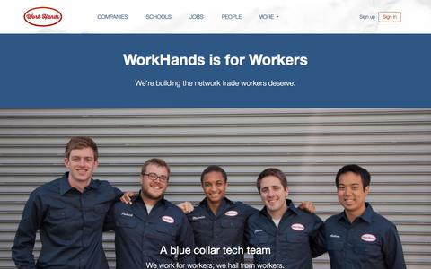 Screenshot of About Page workhands.us - WorkHands is for Workers | WorkHands - captured Dec. 6, 2016