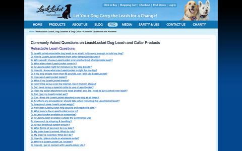 Screenshot of FAQ Page leashlocket.com - Retractable Leash, Dog Leashes & Dog Collar - Common Questions and Answers - captured Oct. 2, 2014