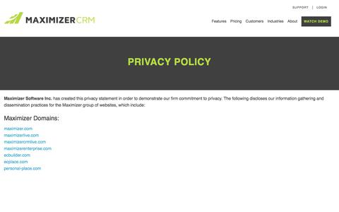 Privacy Policy - Maximizer CRM