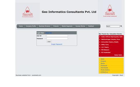 Screenshot of Login Page gicpl.com - Geo Informatics Consultants Pvt. Ltd., Delhi, India :: Camera Based Portable CMM, 3D Scanners, Metrology Softwares, Automatic Weather Stations, Industrial Endoscopes, Water Jet Cutting Devices, Proof Range Equipments - captured Oct. 2, 2014