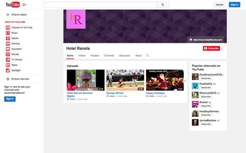 Screenshot of YouTube Page youtube.com - Hotel Ranola  - YouTube - captured Oct. 23, 2014