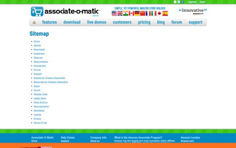Screenshot of Site Map Page associate-o-matic.com - Associate-O-Matic | Sitemap - captured July 31, 2018