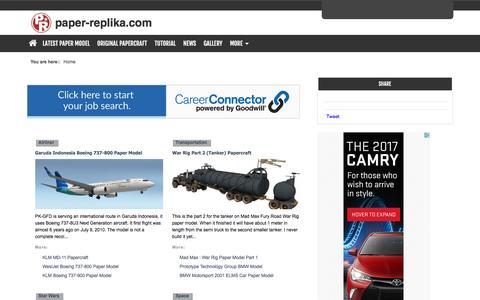 Screenshot of Home Page paper-replika.com - Latest Paper Model - captured Aug. 27, 2016