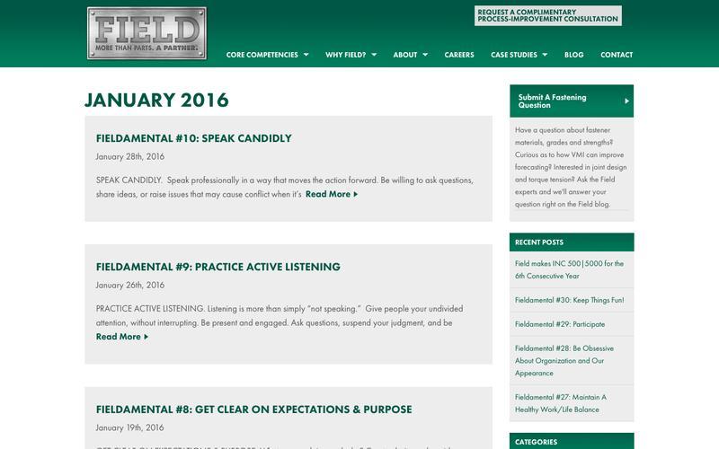 January 2016 - Field Fastener