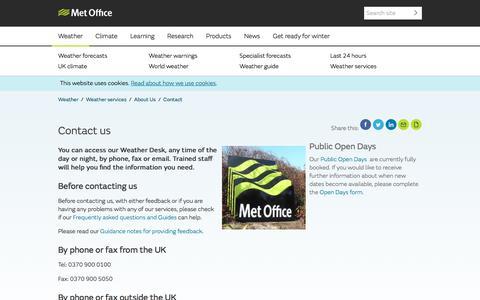 Screenshot of Contact Page metoffice.gov.uk - Contact us - Met Office - captured Feb. 23, 2018
