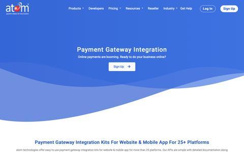 Screenshot of Developers Page atomtech.in - Integration Kit | atom technologies ltd. - captured Nov. 8, 2018