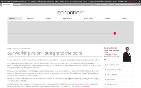 Screenshot of About Page schoenherr.eu - our working vision: Schoenherr Attorneys at Law - captured Sept. 25, 2018