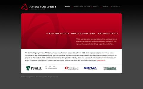 Screenshot of Home Page arbutuswest.com - AWAL Manufacturer Representation - Arbutus West Agency Limited - captured Oct. 4, 2014