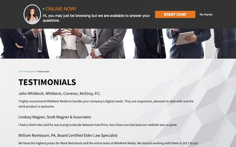 Screenshot of Testimonials Page milemarkmedia.com - Testimonials   MileMark Media, LLC - captured Nov. 21, 2018