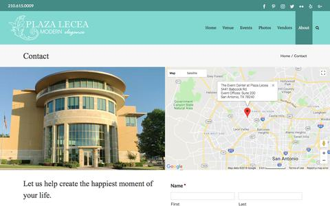 Screenshot of Contact Page plazalecea.com - Contact - Plaza Lecea - captured July 13, 2018