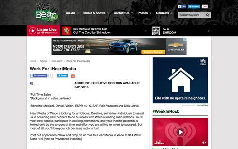 Screenshot of Jobs Page iheart.com - Work For iHeartMedia | KBRQ-FM - captured May 24, 2016