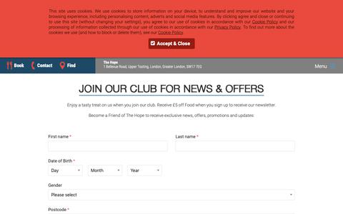 Screenshot of Signup Page thehopepub.co.uk - Signup - captured Oct. 20, 2018