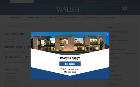 Screenshot of Locations Page walshcollege.edu - Walsh College Locations, Campus Locations, Walsh College Campuses - Walsh College - captured Sept. 21, 2018