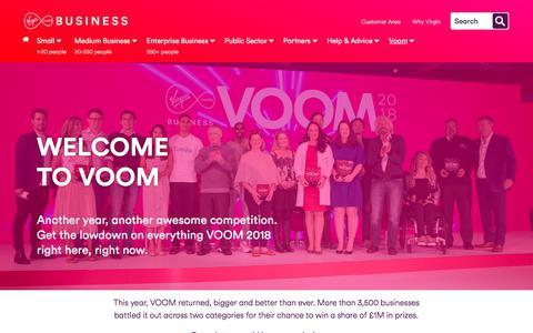 Screenshot of Signup Page virginmediabusiness.co.uk - VOOM Pitch 2018 | Virgin Media Business - captured July 5, 2018