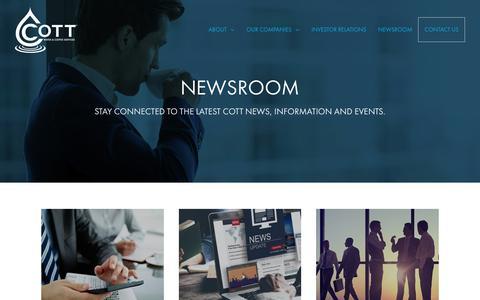 Screenshot of Press Page cott.com - Newsroom - Cott Corporation - captured Sept. 22, 2018