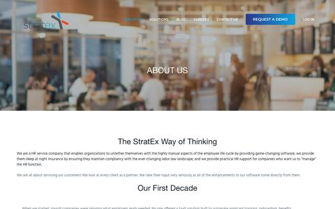Screenshot of About Page stratex.com - About Us — StratEx HR for Restaurants - captured April 14, 2018