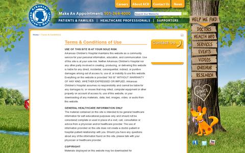 Screenshot of Terms Page archildrens.org - Terms & Conditions | Arkansas Children's Hospital - captured July 20, 2014
