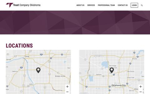 Screenshot of Locations Page trustok.com - Locations- Wealth Management- Trust Company of Oklahoma - captured Oct. 18, 2018