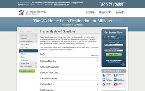 Screenshot of FAQ Page veteransunited.com - VA Loan Frequently Asked Questions from Veterans United Home Loans - captured Oct. 26, 2014