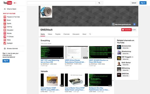 Screenshot of YouTube Page youtube.com - GNS3Vault  - YouTube - captured Oct. 22, 2014