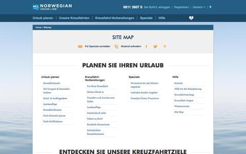 Screenshot of Site Map Page ncl.com - Site Map   Norwegian Kreuzfahrtangebote und Kreuzfahrtziele   Norwegian Cruise Line - captured Oct. 29, 2017