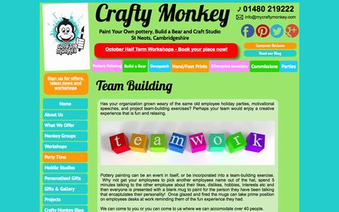 Screenshot of Team Page mycraftymonkey.com - Team Building - Pottery Painting Ceramics, St Neots Cambridgeshire - captured Oct. 3, 2014