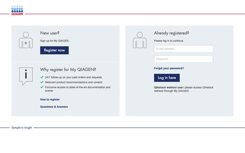 Screenshot of Login Page qiagen.com - QIAGEN - Sample to Insight - captured May 30, 2019