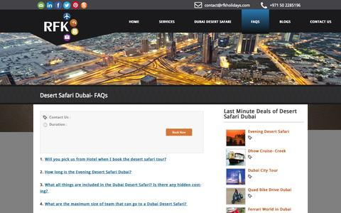 Screenshot of FAQ Page rfkholidays.com - Desert Safari Dubai - Frequently Asked Questions- RFK Holidays LLC - RFK Holidays - captured Oct. 29, 2014