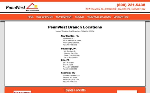Screenshot of Contact Page Locations Page pennwestlift.com - Contact  New & Used Forklifts, Lift Trucks, Rental Equipment, Skid Steers, Excavators, Parts & Service Pennsylvania & Northern West Virginia - captured July 21, 2017