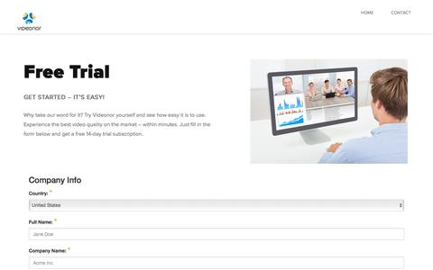Screenshot of Trial Page videonor.com - Start Free Trial – Videonor - captured Sept. 20, 2018