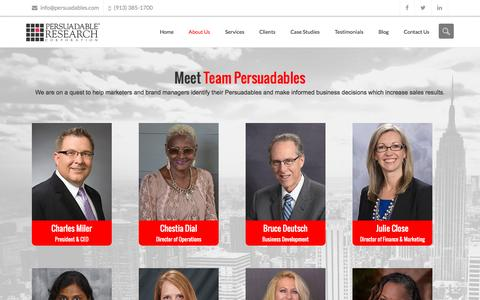 Screenshot of About Page persuadables.com - About Us - Persuadable Research Corporation - captured Nov. 4, 2016