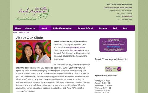 Screenshot of About Page ftcollinsfamilyacupuncture.com - Learn About Fort Collins Family Acupuncture Clinic - captured Oct. 6, 2014