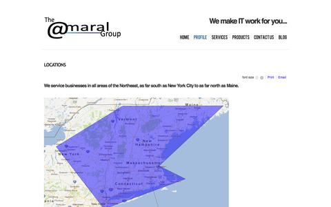 Screenshot of Locations Page amaral.com - Amaral Group | IT Consultants | IT Products and Services - Locations - captured Nov. 5, 2014
