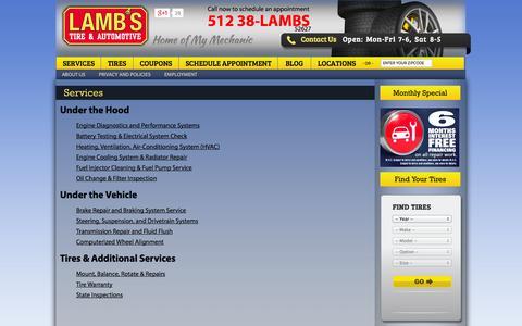 Screenshot of Services Page lambstire.com - Auto Repair Services Austin, Brake Repair, Auto Air Conditioning Service Austin, Car Maintenance  | Lamb's Tire - captured Oct. 1, 2014
