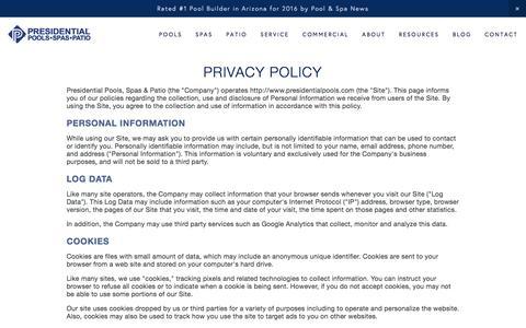 Screenshot of Privacy Page presidentialpools.com - Privacy Policy — Presidential Pools, Spas & Patio of Arizona - captured Dec. 22, 2016
