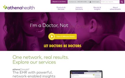 Screenshot of Home Page athenahealth.com - EHR and Practice Management Services | athenahealth - captured March 7, 2016