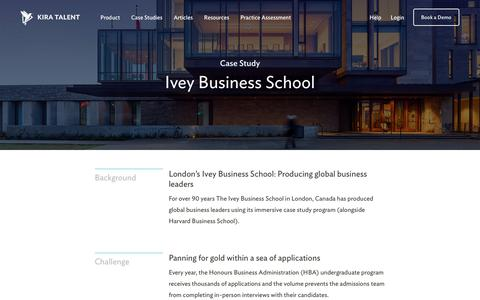 Screenshot of Case Studies Page kiratalent.com - Ivey Business School - Customer Story | Kira Talent - Video Admissions Platform - captured Nov. 10, 2017