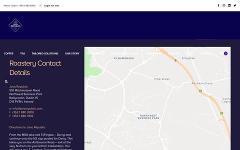Screenshot of Contact Page javarepublic.com - Contact Details - Java Republic - captured Oct. 13, 2018